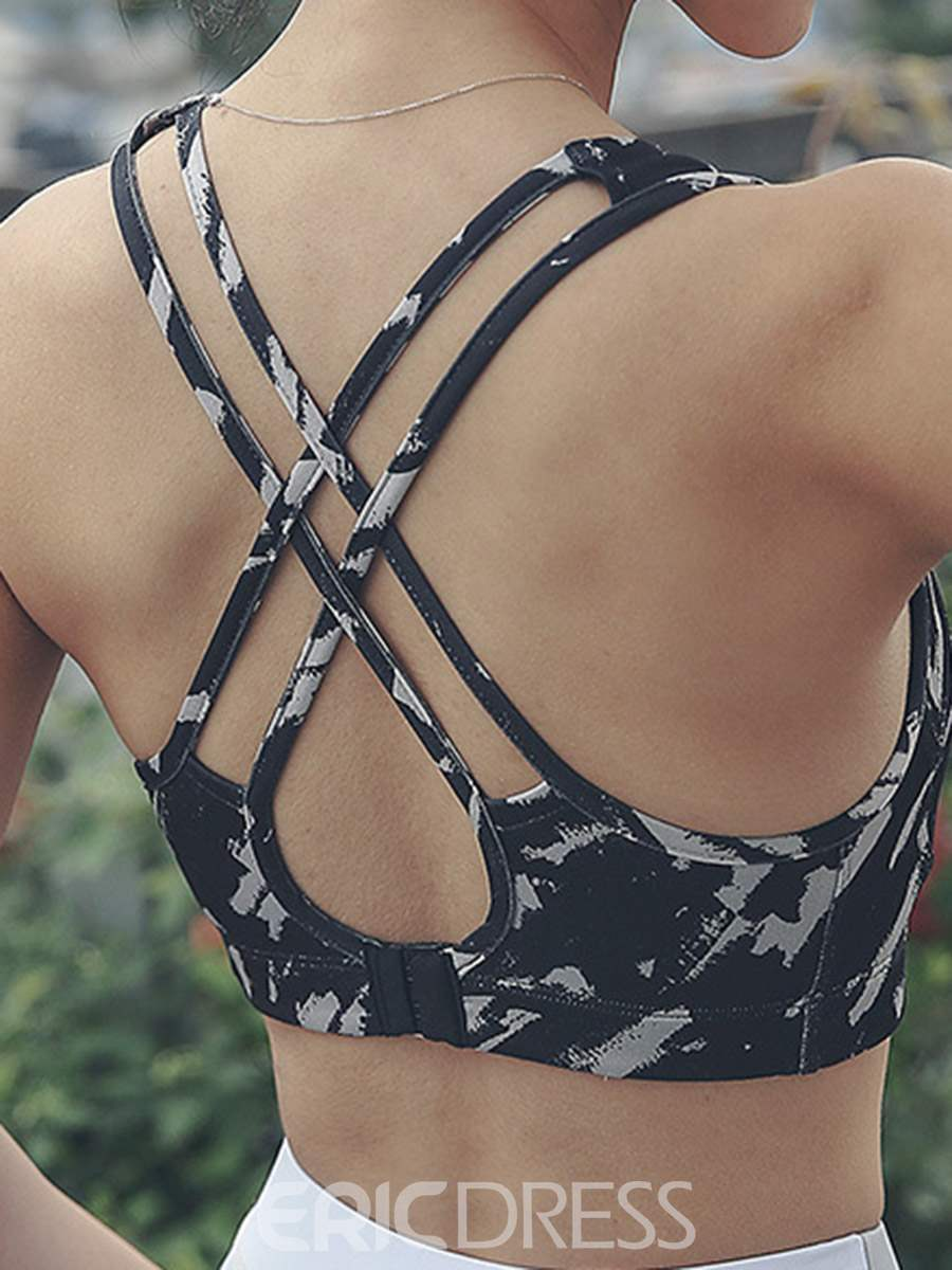 Ericdress Shockproof Non-Adjusted Straps Full Cup Print Sports Bras