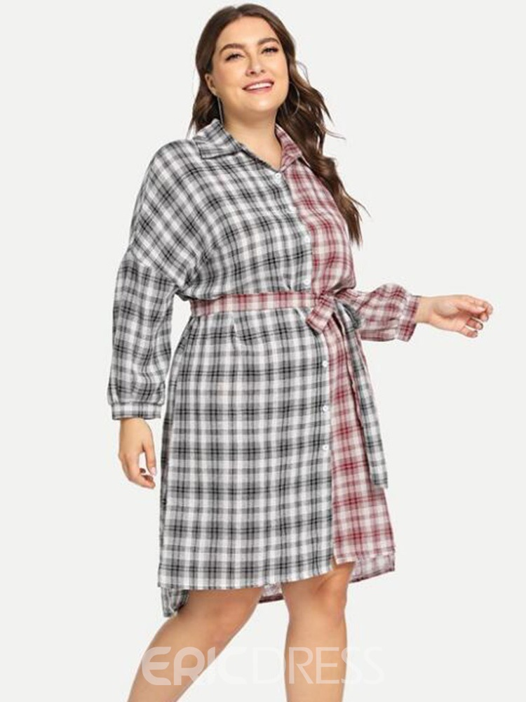 Ericdress Plus Size Above Knee Lapel Long Sleeve Color Block Dress