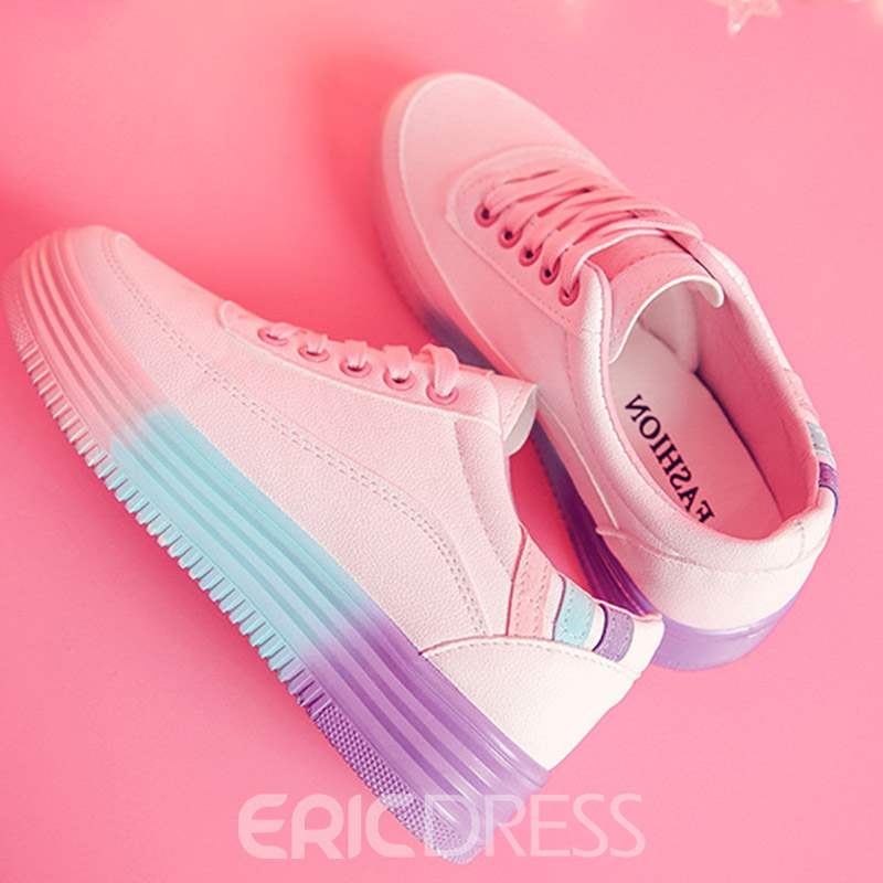 Ericdress Color Block Lace-Up Round Toe Platform Women's Sneakers