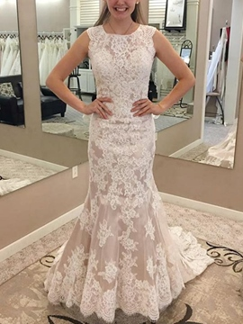 Ericdress Mermaid Appliques Church Wedding Dress 2019
