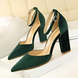 Ericdress Line-Style Buckle Chunky Heel Pointed Toe Pumps