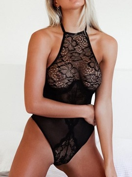 Ericdress See-Through Plain Halter Teddy