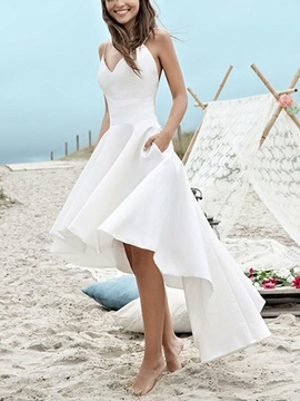 Ericdress High Low Spaghetti Straps Pockets Beach Wedding Dress