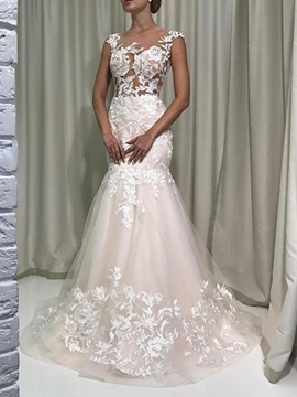 Ericdress Floor-Length Appliques Cap Sleeves Wedding Dress