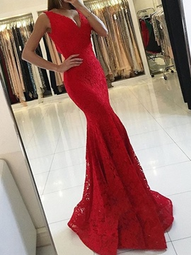 Ericdress Lace V-Neck Mermaid Evening Dress 2019