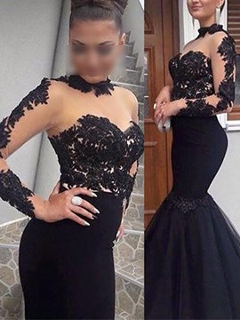 High Neck Long Sleeves Trumpet/Mermaid Appliques Evening Dress