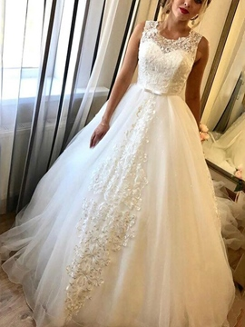 Ericdress Lace Bowknot Ball Gown Wedding Dress