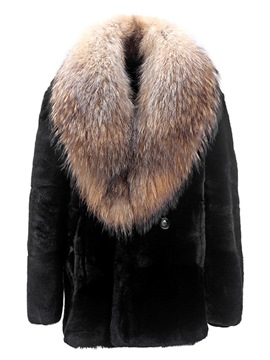 Ericdress Plain Faux Fur Straight Mens Winter Coat