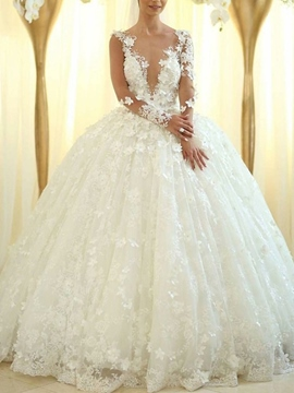 Ericdress Long Sleeves Flowers Appliques Ball Gown Wedding Dress