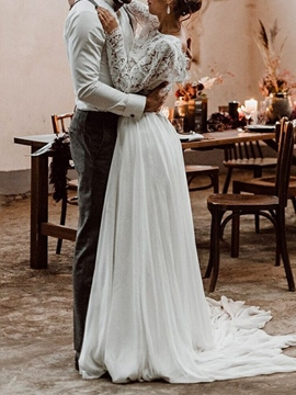 Ericdress Long Sleeves Button Lace Beach Wedding Dress