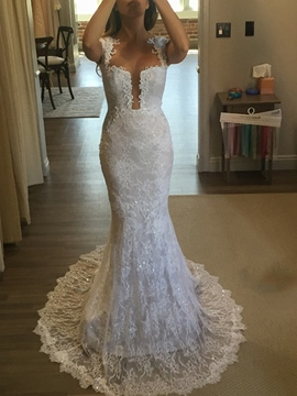 Ericdress Button Back Mermaid Lace Wedding Dress 2019