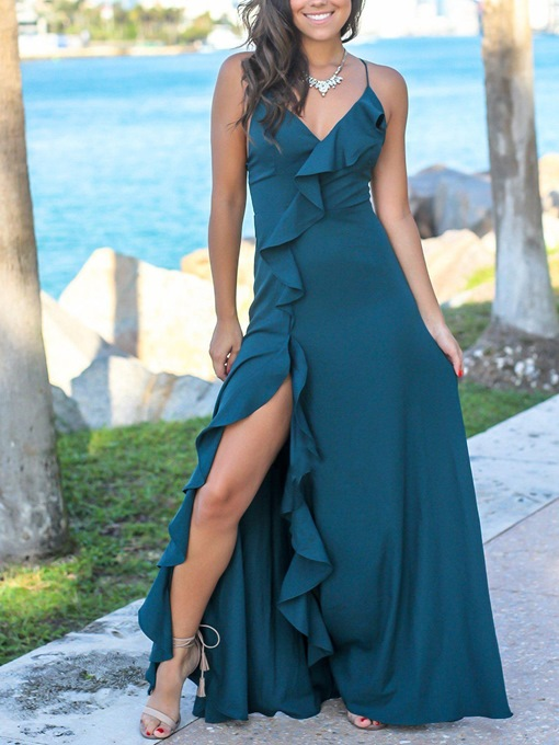 Ericdress Spaghetti Straps Sheath Evening Dress 2019