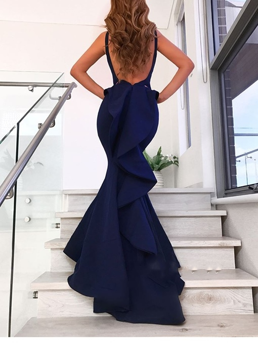 Ericdress Cascading Ruffles Sleeveless Mermaid Evening Dress 2019