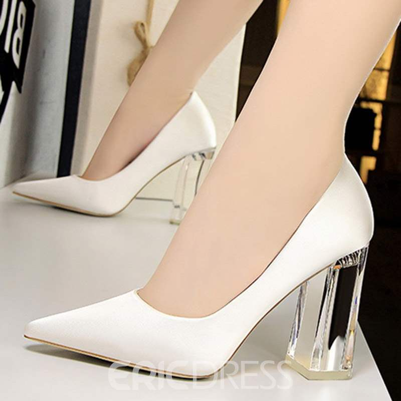 Ericdress Slip-On Pointed Toe Chunky Heel Pumps