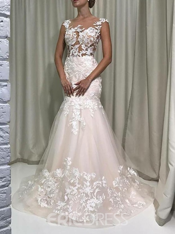 Ericdress Sheer Neck Appliques Cap Sleeves Wedding Dress 2019