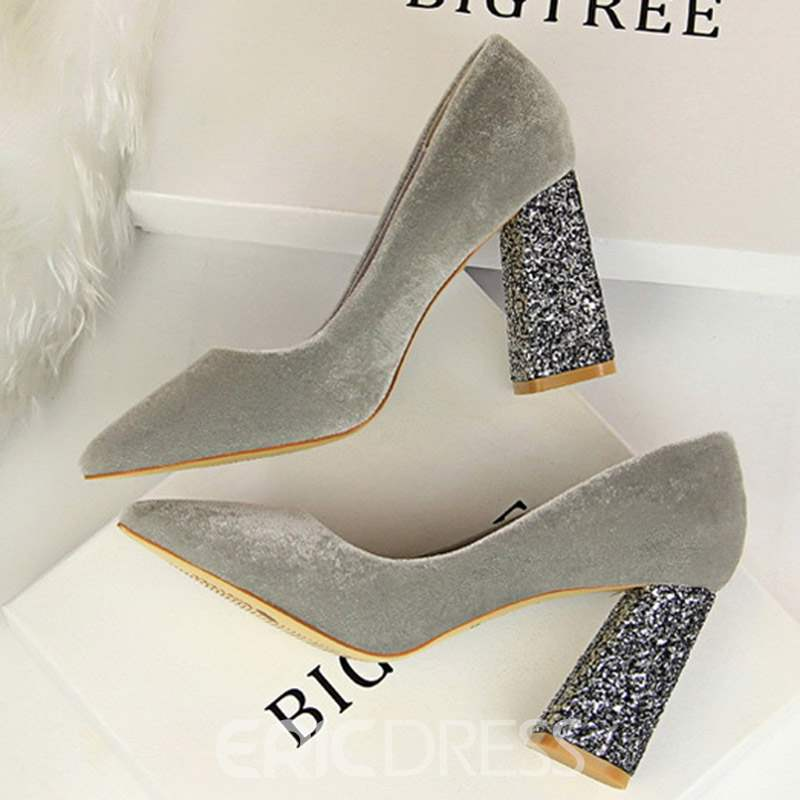 Ericdress Faux Suede Sequin Chunky Heel Slip-On Pumps