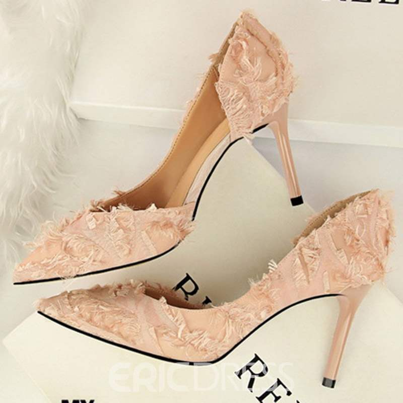 Ericdress PU Pointed Toe Stiletto Heel Slip-On Pumps