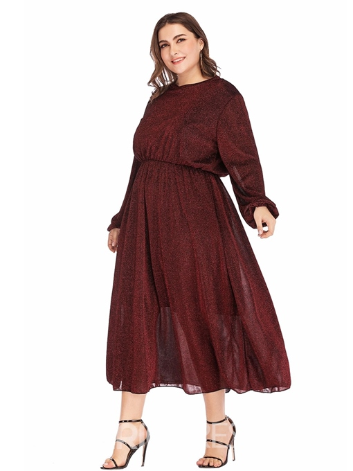 Ericdress Plus Size Round Neck Mid-Calf A-Line Pullover Dress