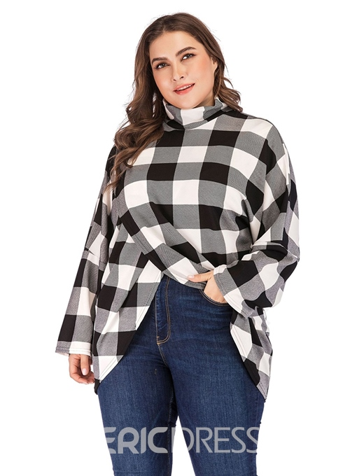 Ericdress Asymmetric Plaid Plus Size Blouse