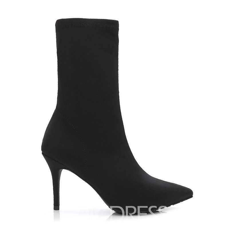 Ericdress Spandex Stiletto Heel Pointed Toe Women's Ankle Boots