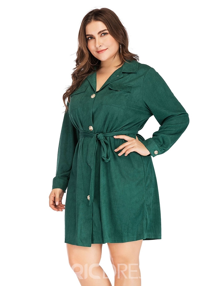 Ericdress Plus Size Lapel Long Sleeve Single-Breasted A-Line Dress