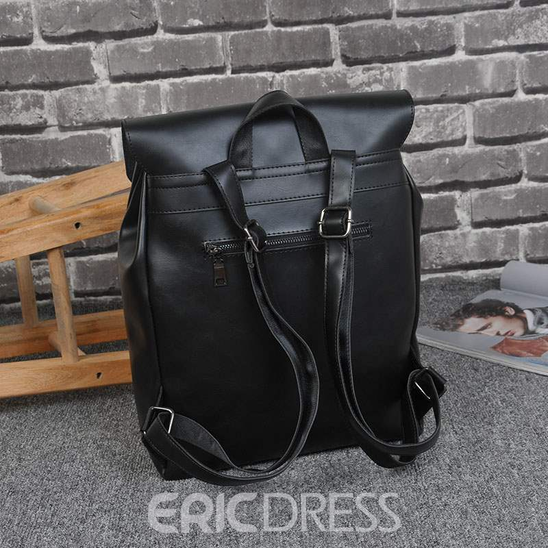 Ericdress Casual PU Plain Thread Backpacks