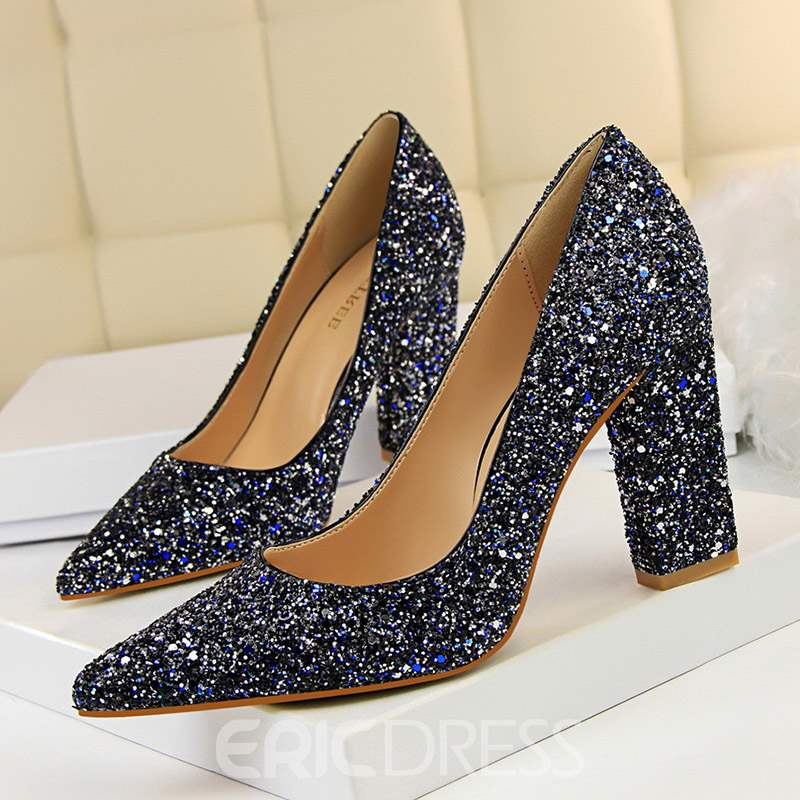 Ericdress Slip-On Chunky Heel Sequin Pumps