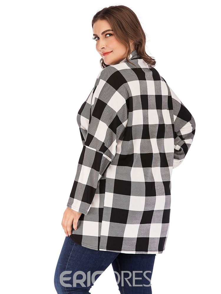 Ericdress Plus Size Asymmetric Plaid Women's Blouse