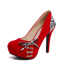 Ericdress Serpentine Patchwork Round Toe Stiletto Heel Platform Pumps