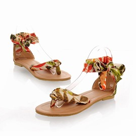 Ericdress Floral Block Heel Thong Lace-Up Women's Sandals