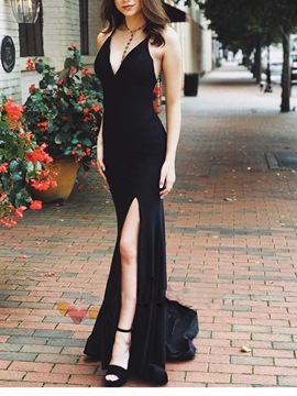 Trumpet Halter Split-Front Sleeveless Evening Dress
