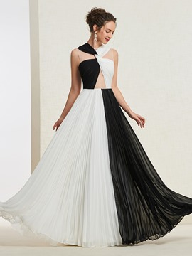 Ericdress A-Line Pleats Contrast Color Prom Dress