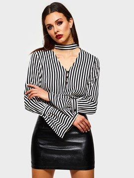 Ericdress Flare Sleeve Stripe Button Long Sleeve Standard Blouse