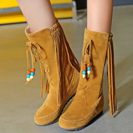 Ericdress Fringe Hidden Elevator Heel Slip-On Women's Calf High Boots