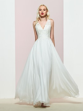 Ericdress A-Line Sleeveless V-Neck Appliques Prom Dress 2019