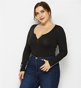 Ericdress Plus Size Button Sexy Plain Slim Bodysuit
