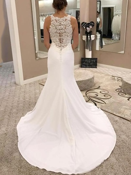 Ericdress Round Neck Lace Button Mermaid Wedding Dress