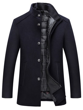 Ericdress Stand Collar Mid-Length Plain Winter Single-Breasted Coat
