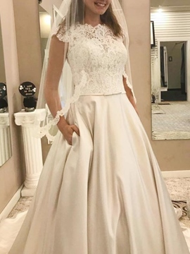 Ericdress A-Line Button Cap Sleeves Church Wedding Dress