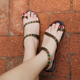 Ericdress Color Block Toe Ring Slip-On Strappy Women's Flat Sandals