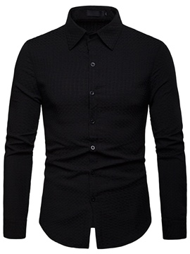 Ericdress Plain Lapel Single-Breasted Mens Dress Shirt