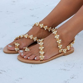 Ericdress Strappy Slip-On Toe Ring Women's Flat Sandals