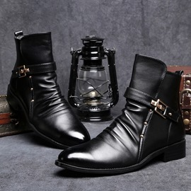 Ericdress Rivet Side Zipper Round Toe Men's Boots