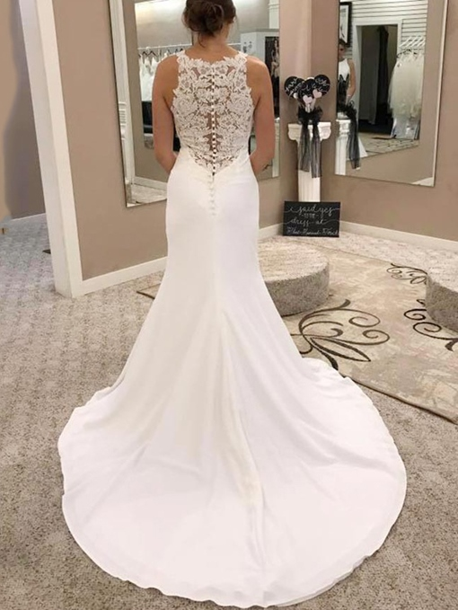 Ericdress Round Neck Lace Button Mermaid Wedding Dress 2019