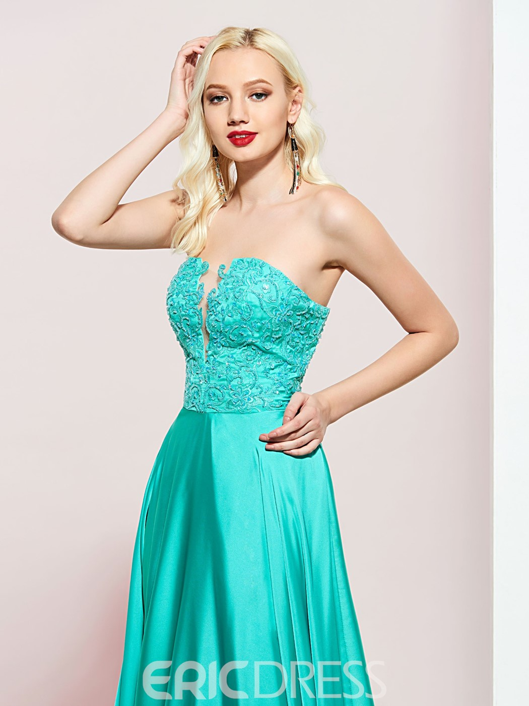 Ericdress Appliques A-Line Strapless Prom Dress