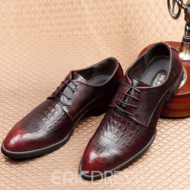 Ericdress Alligator Pattern Round Toe Lace-Up Men's Dress Shoes