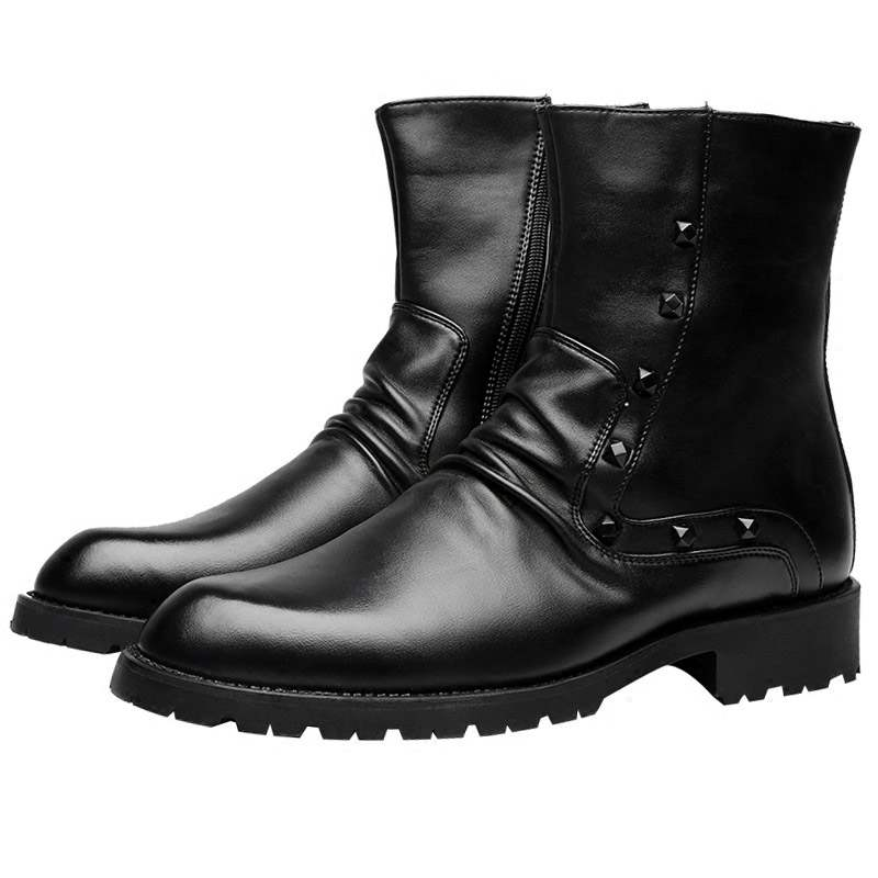 Ericdress Rivet PU Round Toe Side Zipper Men's Boots