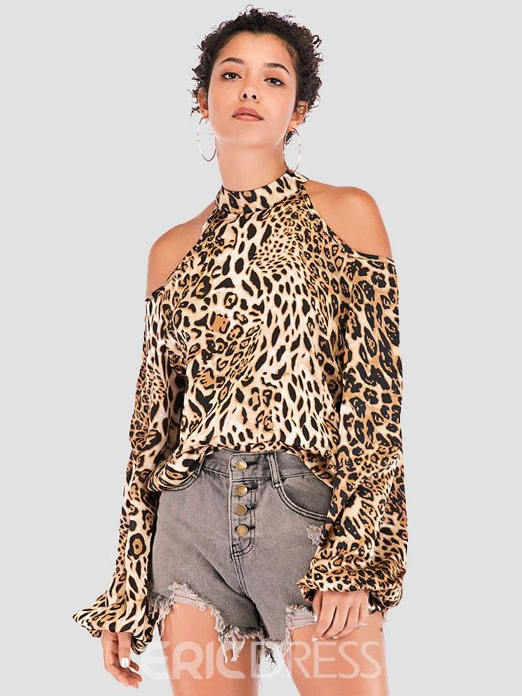 Ericdress Long Sleeve Standard Leopard Sexy Straight T-Shirt