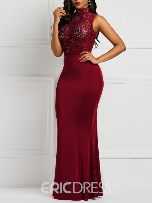 Ericdress Diamond Stand Collar Floor-Length Plain Bodycon Dress