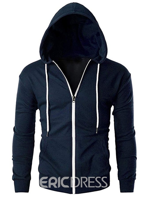 Ericdress Plain Lace Up Hooded Mens Cardigan Hoodies